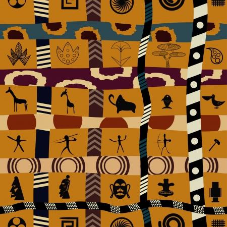그래픽 꽃과 동물들과 부족 원활한 패턴 일러스트