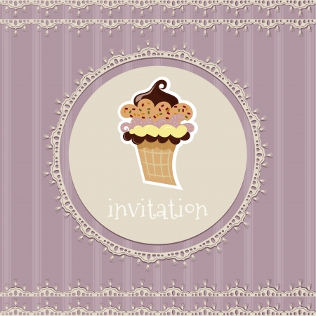 Vintage card--invitation--with cupcake on a purple background  Vector