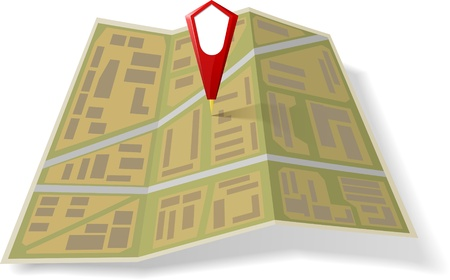Street Map with red pointer Vector