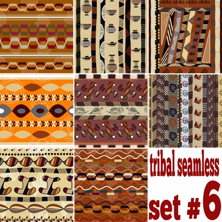 Set of seamless ethnic textures  Vector