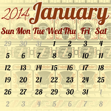 Calendar for January in the African style Vector