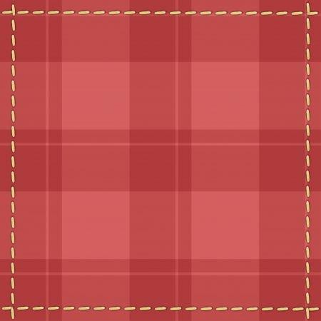 Red checkered background with stitches Illustration