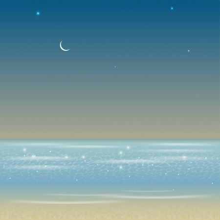 Illustration of night sea landscape Vector