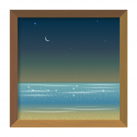 Picture in a wooden frame with a night sea view Vector