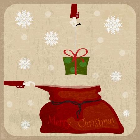 Bag of Santa Claus on vintage background.  Ðostcard in Retro style Vector
