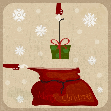 Bag of Santa Claus on vintage background.  �ostcard in Retro style Vector