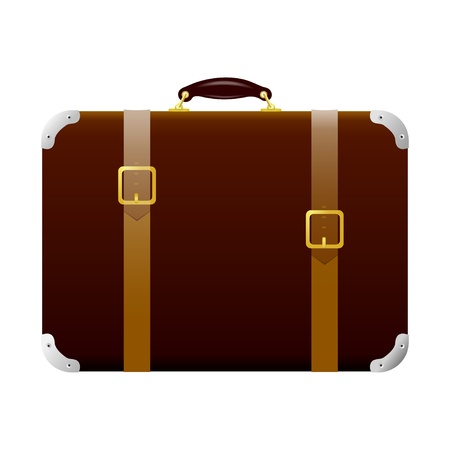 straps: Brown suitcase with straps and buckles. Vintage style Illustration