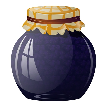 Glass jar with blueberry jam Vector
