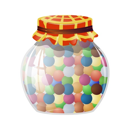 Glass jar with round sweets Vector