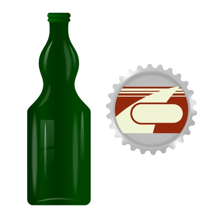 Green glass bottle with a metal cap on a white background Stock Vector - 21687566