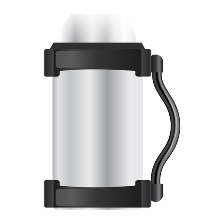 Silver flask on a white background Vector