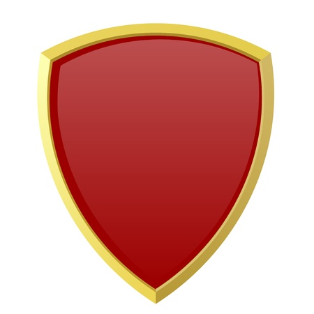 Red shield on white background Vector
