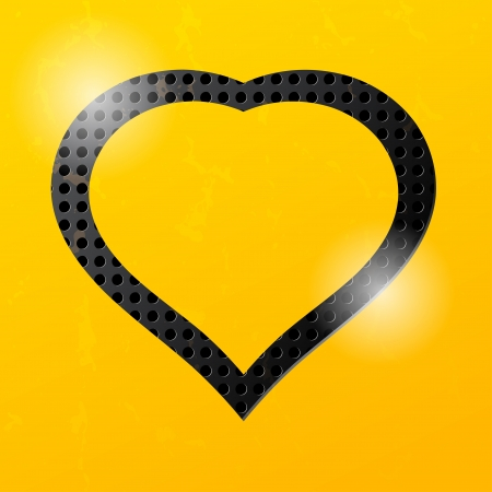 Yellow technological background with a silhouette of the heart Stock Vector - 21687627