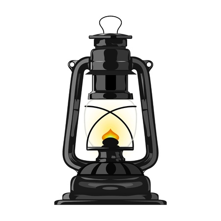 Old kerosene lamp.  Vector