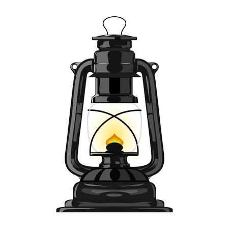 Old kerosene lamp.  Vettoriali