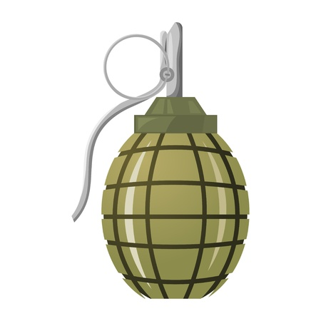 detonating: Hand grenade on a white background.
