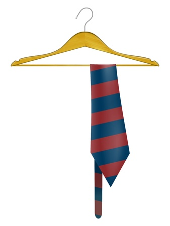 Wooden hanger with a striped tie Vector