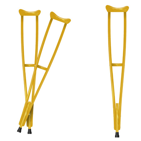 crutch: Wooden crutches on white background Illustration