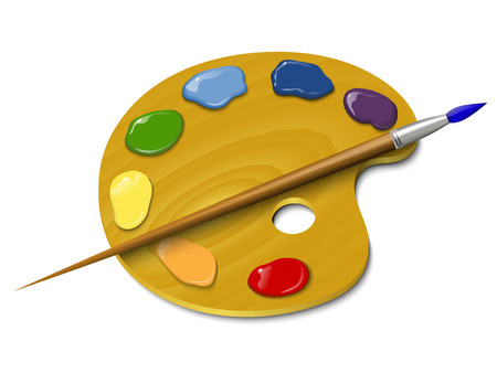 painter palette: Wooden palette with a brush Illustration