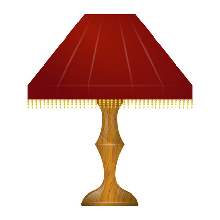 Illustration of a red table lamp Vector