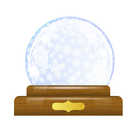 Snow globe with snowflakes Vector