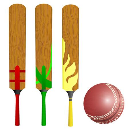 cricket bat: Cricket bats and ball Illustration