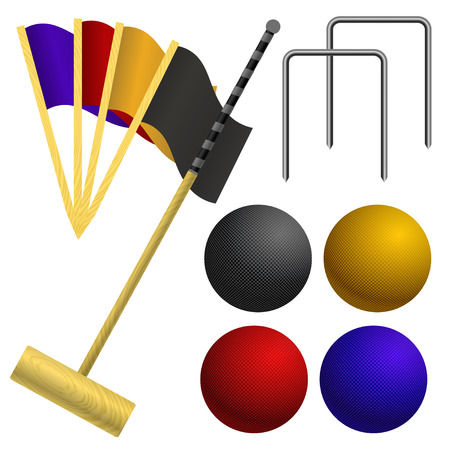 Set of objects for a game of croquet Stock Vector - 22593353