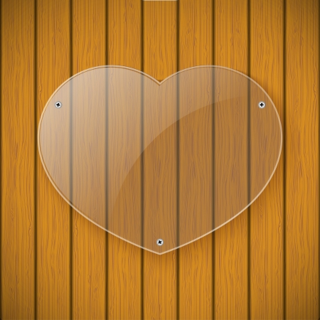 Glass plate in the form of heart on the background of wooden wall Vector