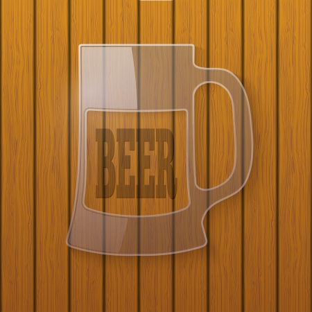 Glass plate in the form of a beer mug on a wooden wall Vector