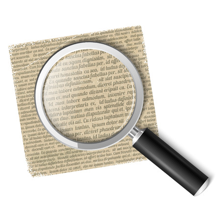 looking through an object: Magnifying glass over text Illustration