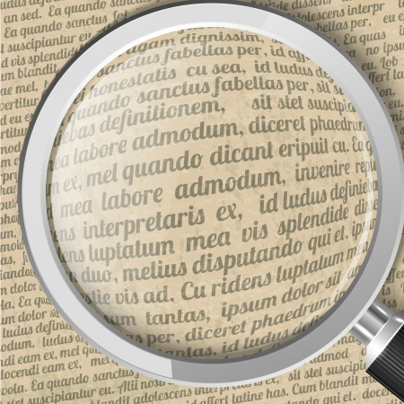 looking through an object: Magnifying glass and old sheet of paper with text