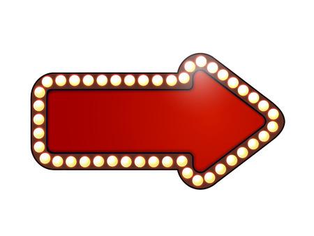 Red arrow with light bulbs. Isolated  Vettoriali