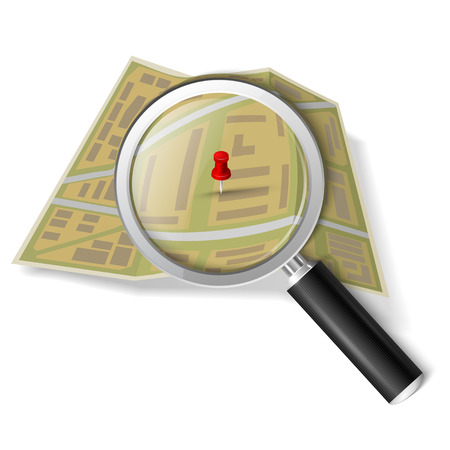 looking through an object: Magnifying glass over the map Illustration