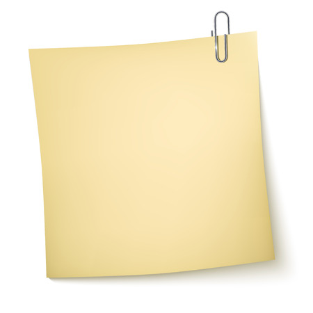 Note Paper with paperclip on white background Illustration