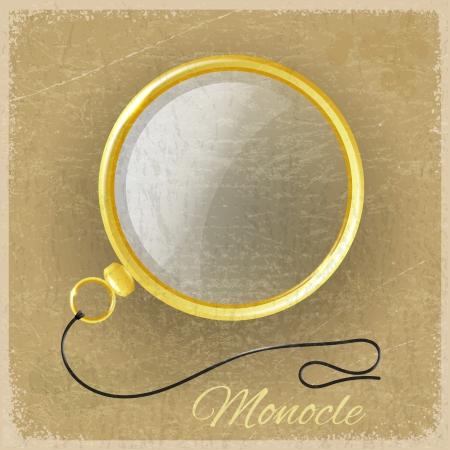 Antique gold monocle on a grunge background Vector
