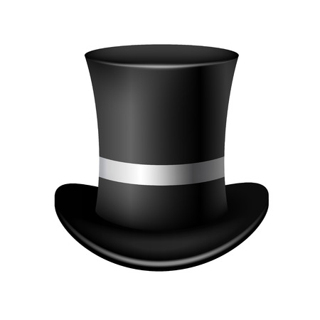 tophat:  Classic cylinder hat on a white background Illustration