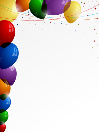confetti background: Colorful balloons on a white background with colored threads and confetti