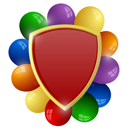 Red shield with a bunch of colorful balloons Stock Vector - 23475516