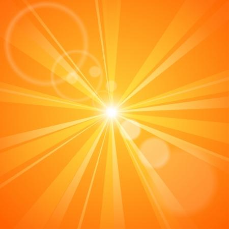 fond abstrait orange: R�sum� fond orange avec des rayons du soleil