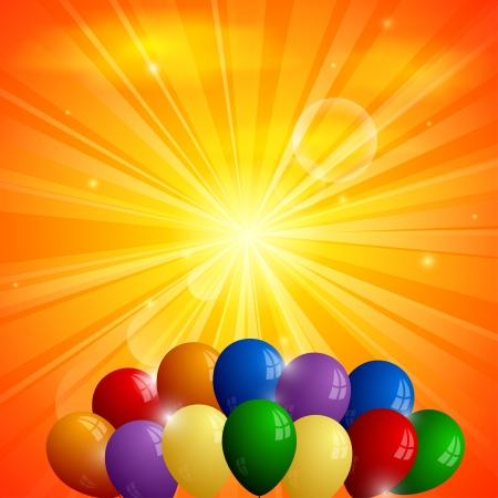 fond abstrait orange: R�sum� fond orange avec le soleil et ballons Illustration