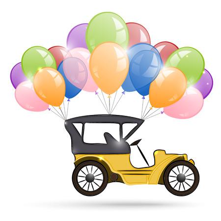 古い車と風船の束