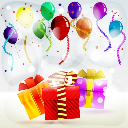 Holiday gifts in boxes on a striped colored background of balloons and streamers Vector
