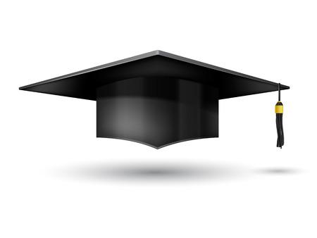 Casquillo de la graduación aislado en fondo blanco Ilustración de vector