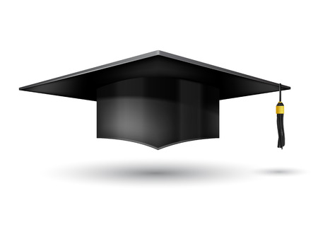 hut: Graduation Cap isoliert auf weißem Hintergrund