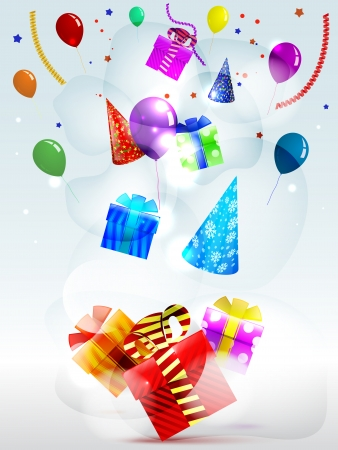 Holiday gifts in boxes on a striped colored background of balloons Vector