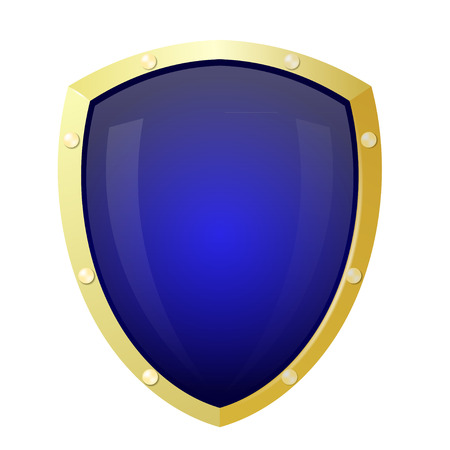 Golden shield with a blue background. Isolate Stock Vector - 23796246