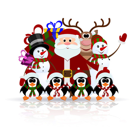Santa Claus, penguins, reindeer and snowman on the ice - greeting card for Christmas Vector