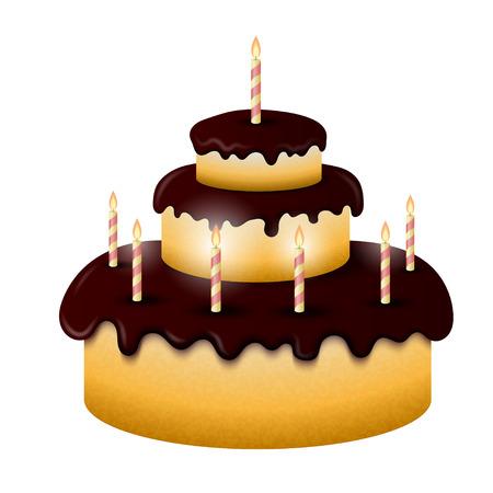 gateau: Celebratory chocolate cake with burning candles