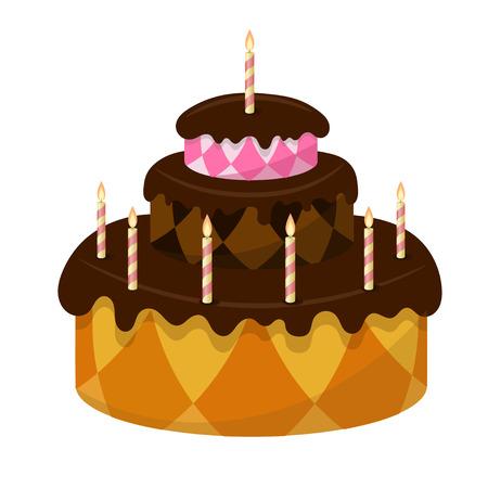 gateau: Torta al cioccolato con candele accese