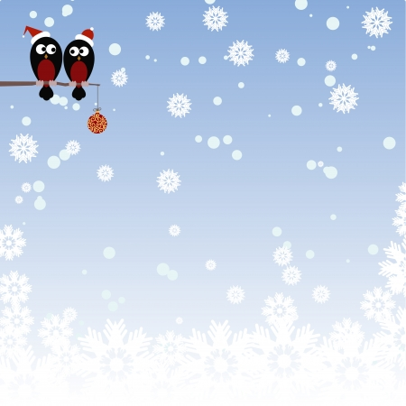 Pair of lovers Bullfinch on a branch in the snow Vector
